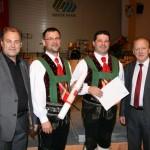 v.l.: Verbandsobmann Pepi Fauster, Kapellmeister Markus Silbernagl, Obmann Othmar Falser, Landeskapellmeister Walter Rescheneder